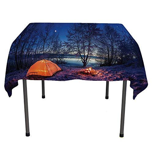 Apartment Decor, Wipeable Table CoverDark Night Camping Tent Photo in Winter on Snow Covered Lands by The Lake, for Outdoor and Indoor Use, 60x60 Inch Blue Orange