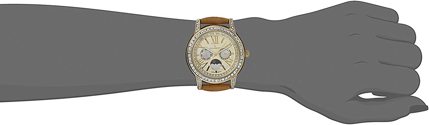 Peugeot Women Crystal Bezel Dress Watch, Day Date Moon Phase Function & Mother of Peal Dial with Roman Numeral, Suede Strap Brown