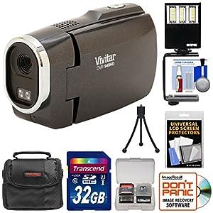 Vivitar DVR949HD 1080p HD Video Camera Camcorder (Black) with 32GB Card + Case + Tripod + LED Video Light + Kit