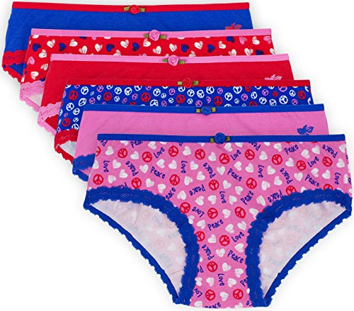 Lucky & Me Ava Little Girls Bikini Underwear, Love & Peace Print, 6 Pack, Tagless, Soft Cotton, 6 by Lucky & Me