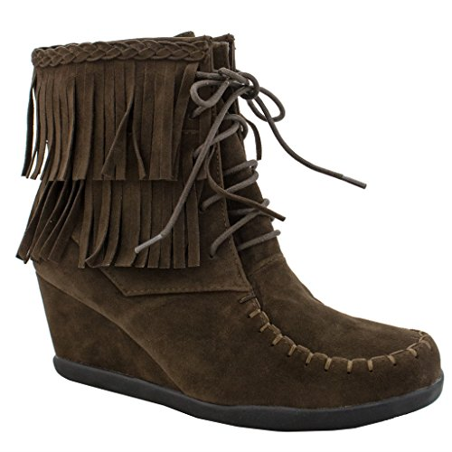 Women's Fringe Faux Suede Lace Up Ankle Boot Wedge - Indian Boot Fringe