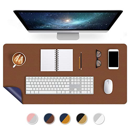 Office Desk Pad Desktop Protector 24 X 48 Inch Desk Blotter on Top of Desks Laptop Computer Under Keyboard Mouse Pad Organizer for Men Girl Women Kids Dual-Sided PU Leather Table Protector Brown/Blue