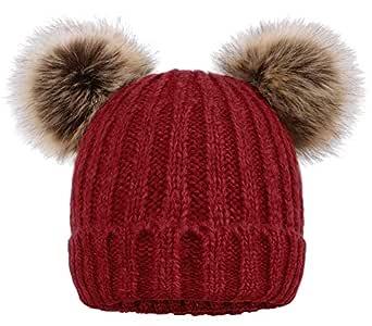 ARCTIC Paw Women Knit Beanie Cable Knit Beanie Hat Faux Fur Pompom Ears