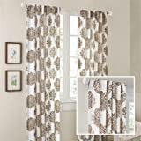 """Madison Park Addison Anthro Burn Out Sheer Curtain - Brown - 95"""" Panel"""