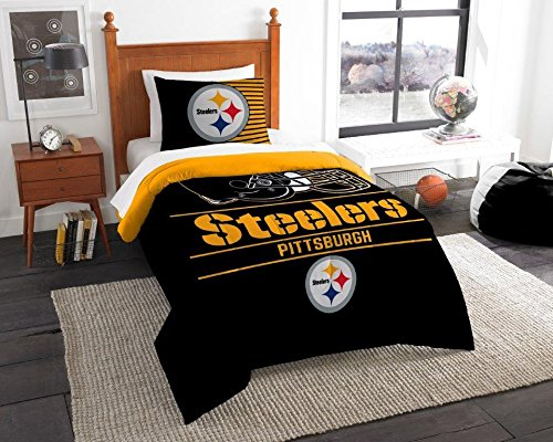 Pittsburgh Steelers - 2 Piece TWIN Size Printed Comforter Set - Entire Set Includes: 1 Twin Comforter (64