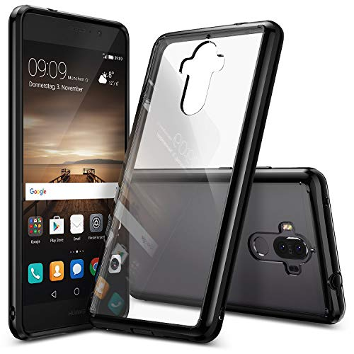 Ringke Fusion Compatible with Huawei Mate 9 Tough PC Back TPU Bumper Drop Protection, Shock Absorption Technology (Attached Dust Caps) Raised Bezels Protective Cover Huawei Mate 9 Case - Ink Black