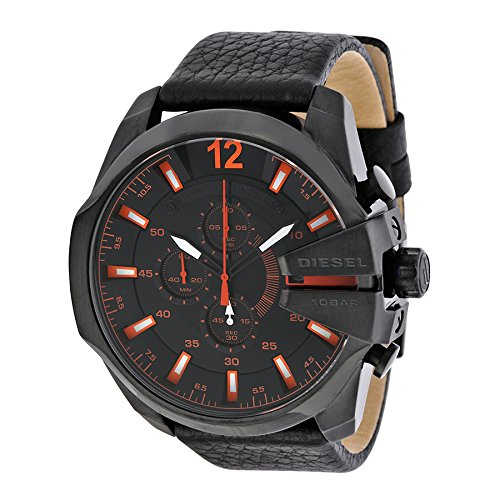 Diesel DZ4291 Mens Stainless Steel Case Chronograph Leather Strap Black Tone Dial Date Display
