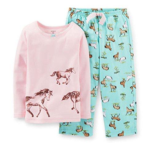 Carter's Little Girls' 2 Piece Cotton Fleece Pajamas - Horses (2 Toddler, Pink)