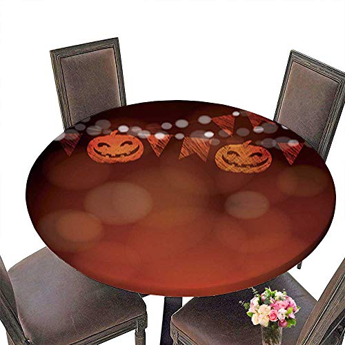 Round Tablecloth,Halloween Dia de Los Muertos Greeting Card Invitation Pumpkin Decoration Table Top Cover up to 47.5