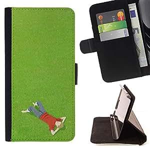For Samsung Galaxy S6 Case , Summer Boy Pensando Relajante Hierba- la tarjeta de Crédito Slots PU Funda de cuero Monedero caso cubierta de piel