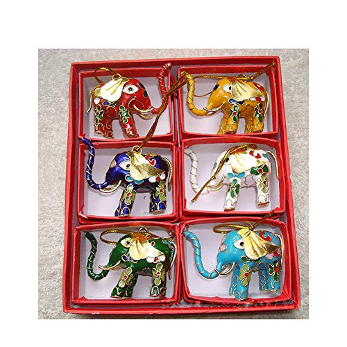MUJING 6 Pcs Chinese Handmade Classic Cloisonne Animal Decoration Elephant Enamel Ornaments