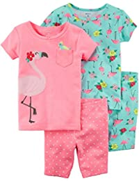 Girls 4-Piece Summer Snug Fit Cotton Pajamas