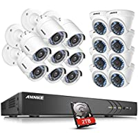 ANNKE 16CH Full HD 1080P Security Camera System H.264+ 4K Digital Video Recorder with 2TB Hard Drive and (16) 1920TVL 2.0MP Outdoor Fixed CCTV Cameras