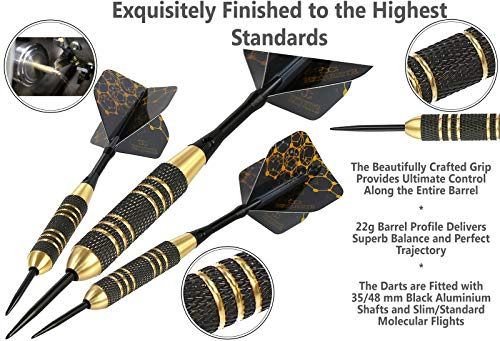 CC-Exquisite Professional Steel Tip Darts Set - 6 x 22g Brass Barrels with 12 Flights Standard/Slim, 12 Aluminum Shafts 35/48mm, 12 O-Rings, Dart Tool, Dart Sharpener and Case