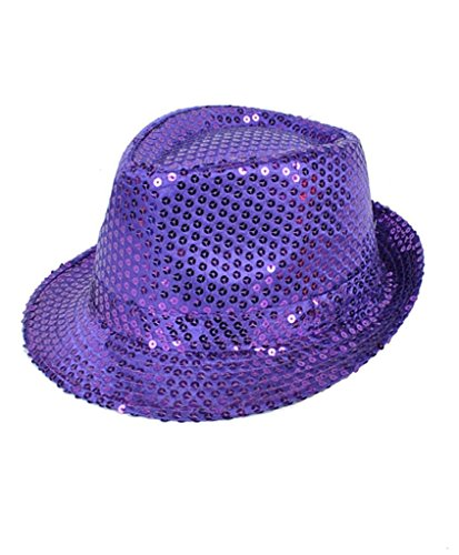 Colorful Sequined Fedora Hat (Purple Fedora)
