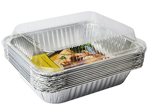 eHomeA2Z (10 Pack) Heavy Duty Half Size Deep Aluminum Foil Steam Table Pans With Dome Lids for Cooking, Roasting, Broiling, Baking – 9″ x 13″ (10, Half Size w/Dome Lids)
