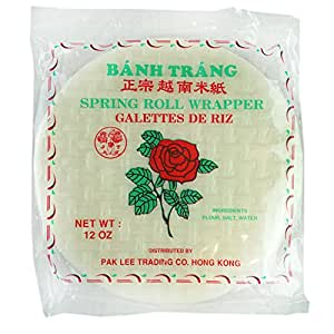ROM AMERICA Rose Spring Rolls Paper Wrapper Roll Round Rice Banh Trang, Red, 12 oz.