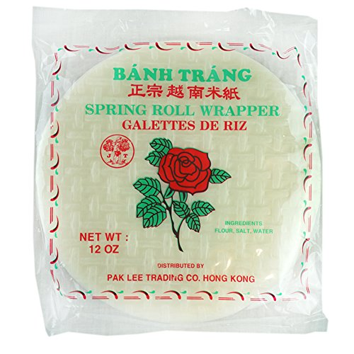 ROM AMERICA Rose Spring Rolls Paper Wrapper Roll Round Rice Banh Trang, Red, 12 oz. ()