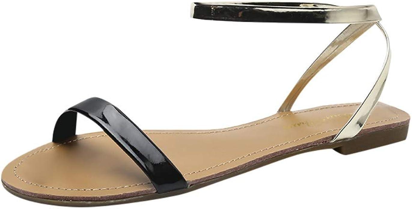 Calvinbi Women's Peep Toe Flat Sandals