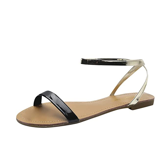 dd21e26a65cc9 Amazon.com: Women's Ankle Flat Simple Sandals, NDGDA Ladies Summer ...