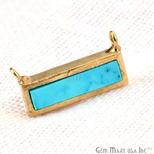 Turquoise Rectangle Gemstone Bar Pendant, 15x7mm 24k Gold Plated Open Bail Gemstone Pendant (GPTQ-50022) Rectangle Turquoise Pendant