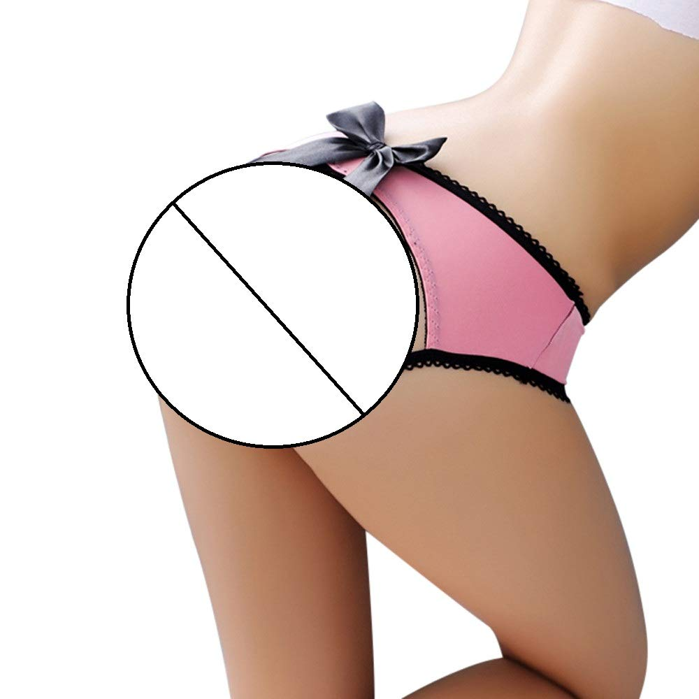 Women Perspective Crotchless Sexy Panties Lace Pants Ladies Briefs (Free, Pink)