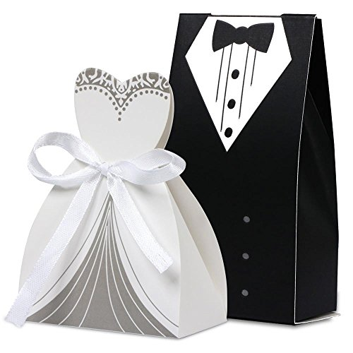 Gotobuy 100Pcs Wedding Favor Candy Box Bride & Groom Dress Tuxedo for Party Wedding with (Groom Candy Favor Bags)