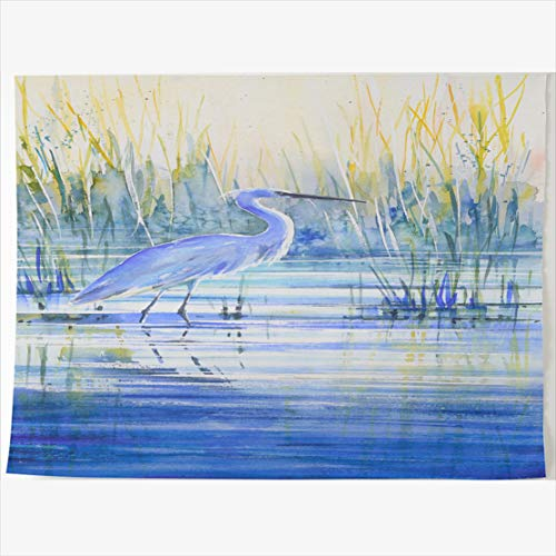- AlliuCoo Tapestry Home Decor 80 x 60 Inches Artistic Blue Heron On Japan Lake Shore Sunset Wildlife Tapestries Wall Hangings Art for Bedroom Living Room Dorm