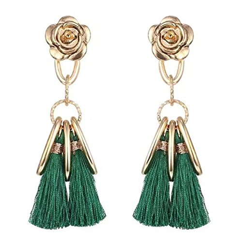 Lord & Taylor Pendant Necklace (Long Tassel Earrings Jewelry Pendantes Femmes Ethniques Earrings Women E6060 Imitation Rhodium Plated)