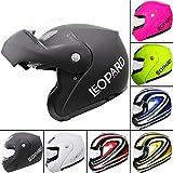 Leopard LEO-717 Flip up Front Motorcycle Motorbike Helmet - Matt Black L (59-60cm)