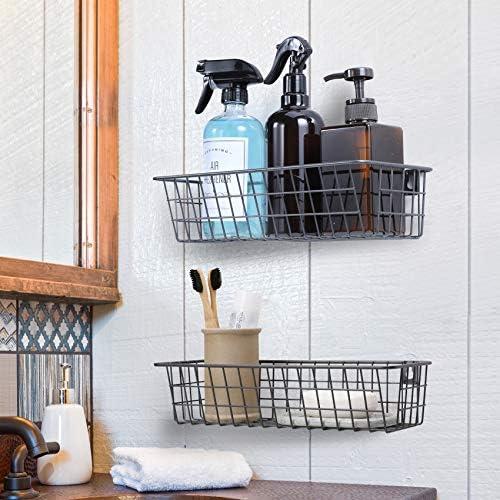 51BRWOt32yL. AC 3 Set Hanging Wall Basket for Storage, Wall Mount Steel Wire Baskets, Metal Hang Cabinet Bin for Organizer, Rustic Farmhouse Decor, Kitchen Bathroom Accessories Organizer, Industrial Gray, Medium    Product Description