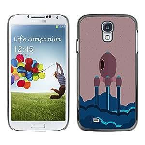 ROKK CASES / Samsung Galaxy S4 I9500 / MINIMALIST SPACE SHIP / Delgado Negro Plástico caso cubierta Shell Armor Funda Case Cover