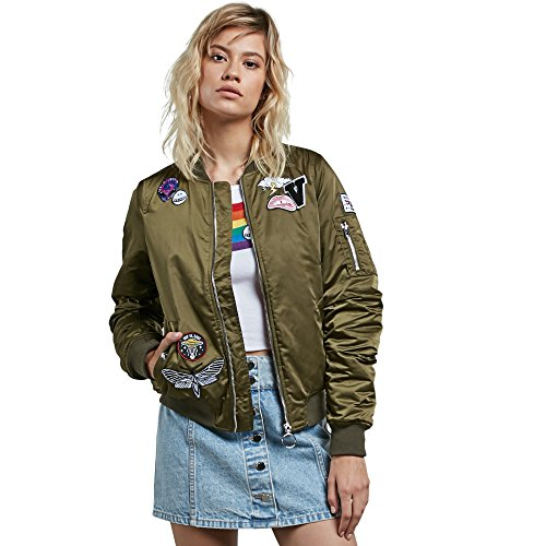Volcom Junior's Georgia May Jagger Bomber Jacket, Dark Camo, - Jagger Georgia