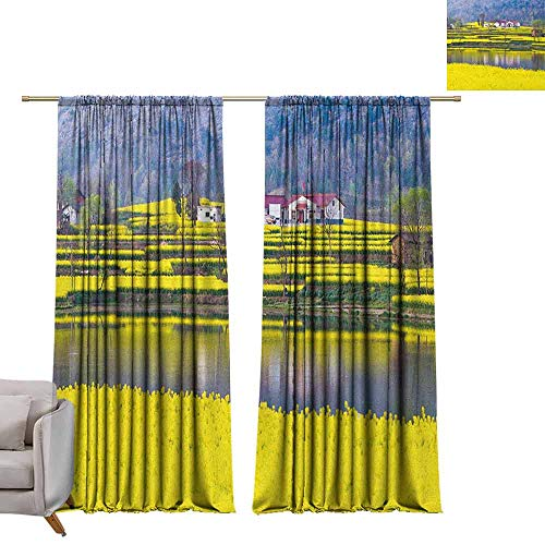 Garden Rose Block China (Decor Curtains by Yellow Flower,Rural Spring Scenery in Northern Shaanxi China Blossoming Farmland, Yellow Hunter Green W72 x L108 Blackout Draperies for Bedroom)
