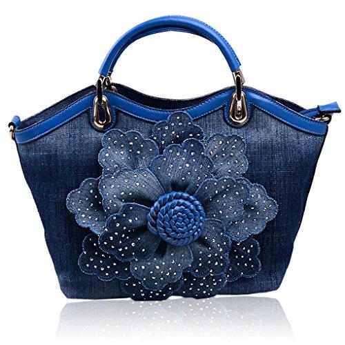 Kaxidy Sac à bandoulière Sac à main Femme Denim Fleur Epaule Main Bleu