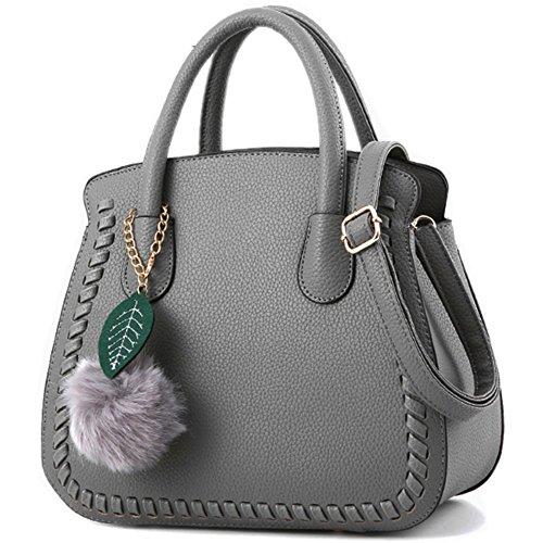 MSXUAN Fashion Leather PU Handbags Classic Shoulder Bag For Women (Grey)