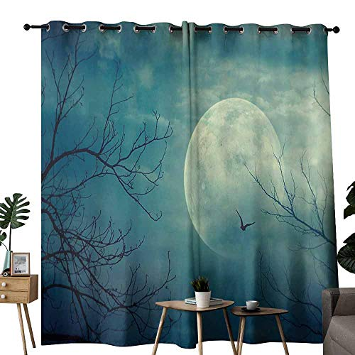 duommhome Horror House Decor Polyester Curtain Halloween with Full Moon in Sky and Dead Tree Branches Evil Haunted Forest Noise Reduction soundproof Curtain W96 xL72 -