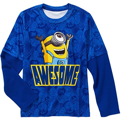 Despicable Me Minions Awesome Boys Faux Layered Long Sleeve Tee (Small 6/7)