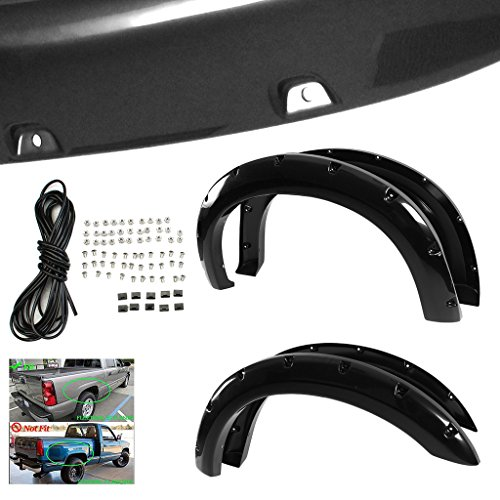 RAFTUDRIVE 4pcs Smooth Black ABS Pocket Rivet Bolt-On Fender Flares Fit 1999-2007 Ford F250/F350 Super Duty (Not Fit Dually Model Which Has Dual Rear Wheels) (2000 Ford F250 Fender Flares compare prices)