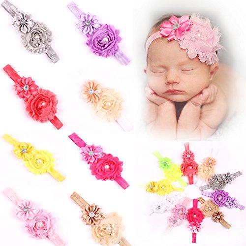 ROEWELL® 10 Pcs Baby's Headbands Girl's Hair Bows Newborn h