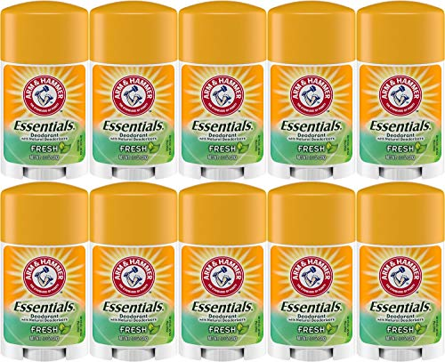 Arm & Hammer Essentials Solid Deodorant, Fresh, 1 Ounce Travel Size (Pack of 10)