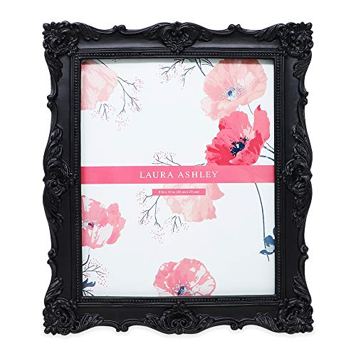 Laura Ashley 8x10 Black Ornate Textured Hand-Crafted Resin Picture Frame with Easel & Hook for Tabletop & Wall Display, Decorative Floral Design Home Decor, Photo Gallery, Art, More (8x10, ()