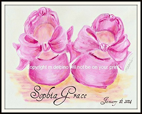 Date Of Birth Record - Personalized Birth Keepsake print, name and date pink ballet baby shoes.