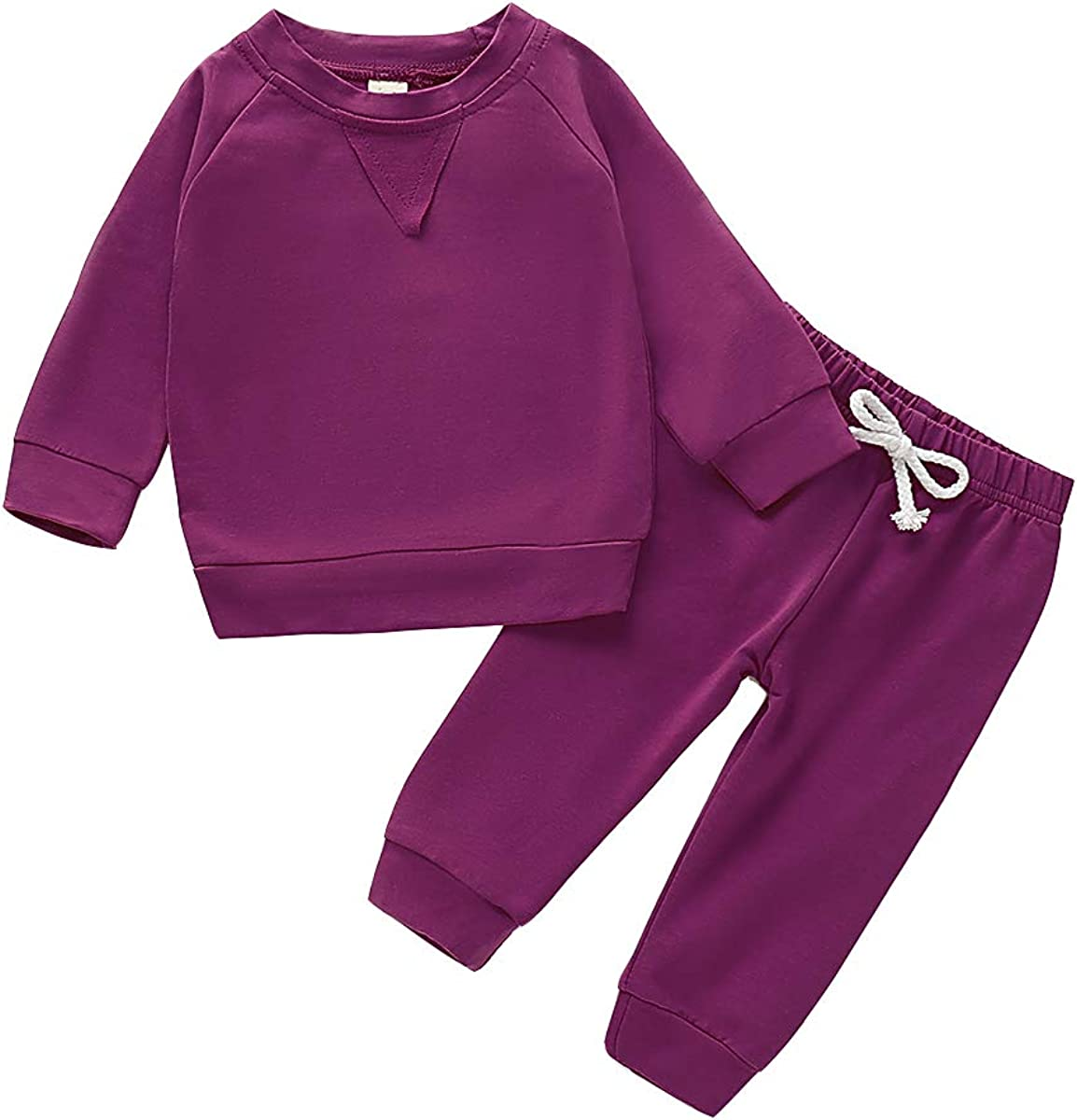 Fall Outfits Set Toddler Baby Boy Girl Long Sleeve Top and Long Pants Solid Color Pajamas Sets
