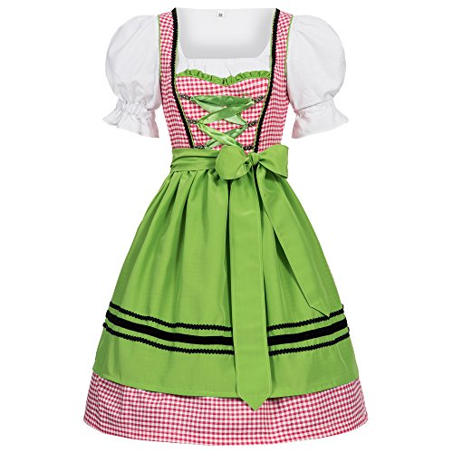 Gaudi-leathers Women's Set-3 Dirndl Pieces pink checkered with green apron 42 -