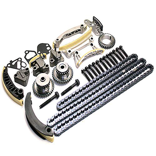 Engine Timing Chain Kit w/Chain Guide Tensioner Sprocket for Buick Enclave Lacrosse Cadillac CTS SRX Chevy Equinox Malibu Traverse GMC Acadia Replace # 9-0753S ()