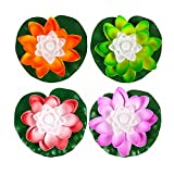 superdream 7 Color Batteries Operated Lotus LED Candle Floating Candle Flameless Candle Light Beautiful Festival Lamp and Decoration for Home, Garden, Pond (Pack of 4) (Orange, Green, Red, Purple)