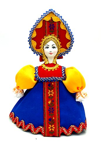 (CHRISTMAS Tree Ornament Russian Doll in traditional folk costume with porcelain hand painted face / Girl in a blue dress gift)