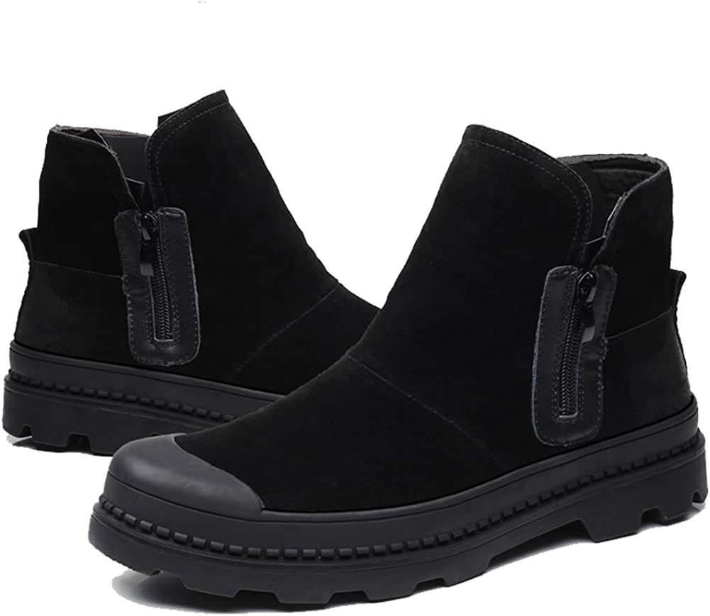 Feidaeu Chaussues Plateforme Boots Hommes, Tube Bottes de Neige Chaudes Cuir Hiver Mode Chelsea Boots Zip Ankle Courtes Bottines Noir