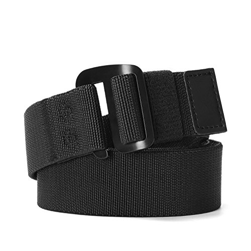 Men's Elastic Stretch Nylon web Jeans Belt Outdoor Casual Belt with Solid Adjustable Buckle By (Nylon Stretch Belt)